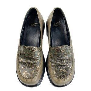 Dansko Green/ Gold Embossed Leather Chunky Clogs